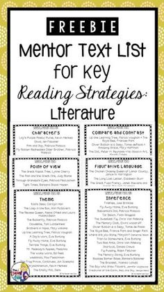 This freebie includes a list of mentor texts for each of the following key reading strategies for literature: Inference Theme Characters Figurative Language Point of View Compare and Contrast Mentor texts are a great tool to use with students as part of a reading mini-lesson. My hope is that the lists included will help you easily find some great picture books to add to your collection of lesson ideas for each of the strategies listed. by autumn