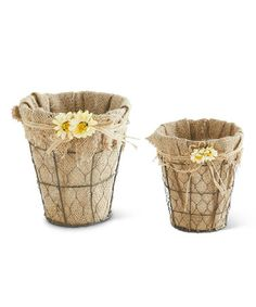 Another great find on #zulily! Round Burlap-Lined Daisy Basket Set #zulilyfinds
