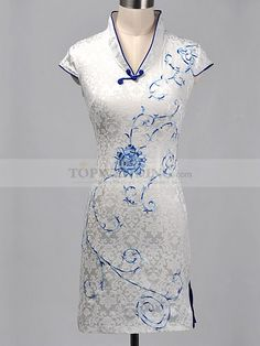 You'd look more elegant and slender with this short cheongsam which is silhouetted in figure flattering sheath.
