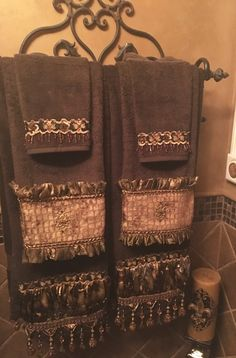 Luxury Bath Towels, Hand Towels and Wash Cloths in all the Reilly-Chance Collections. Shown here in the Bristol Collection Tuscan Bathroom Decor, Bathroom Towel Decor, Bath Decor, Gothic Bathroom, Tuscan Style, Tuscan Design, Mediterranean Style, Wrought Iron Decor, Tuscan Decorating