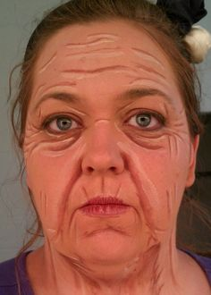 Old age Makeup for Theatre Old Age Makeup, Fx Makeup, Blue Makeup, Helloween Make Up, Monster Makeup, Character Makeup, Theatre Makeup, Theatrical Makeup, Makeup Class