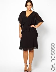 Image 1 ofASOS CURVE Exclusive Dress With Plunge Neck And Ruffle Sleeves in Longer Length