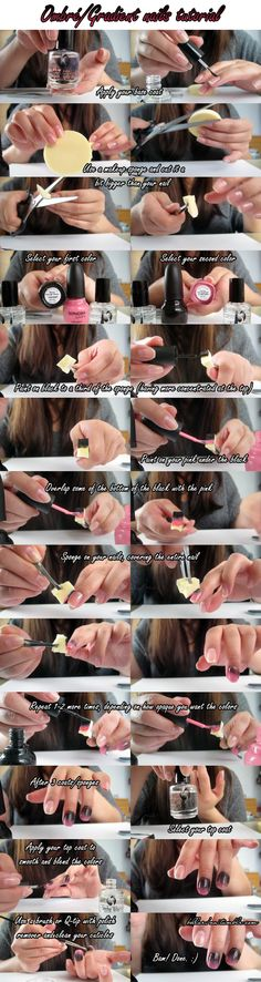 Ombré nails tutorial. would never use pink and black but its a great method!