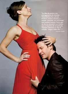 photo shoot with Sandra--both totally trying not to crack up!  Love these two. (chicfoo) keanu + sandra