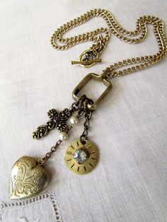 Vintage Repurposed Necklace with Locket by MySalvagedTreasures, $32.00