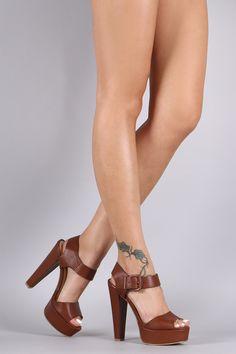 f074feff50ec Bamboo Buckled Ankle Strap Chunky Platform Heel Cute Heels