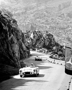 John Fitch in the No. 106 Mercedes Benz 300SLR leading Eugenio Castellotti in his Ferrari 860 Monza through the mountains of Sicily during the 1955 Targa Florio. (Photo: Daimler Benz Archives)
