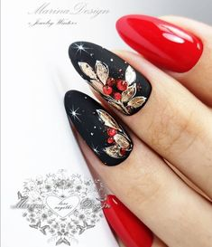 Winter nail polish ideas in black, gold and cherry red.❤ - Winter nail polish ideas in black, gold and cherry red.❤ Winter nail polish ideas in black, gold and cherry red. Xmas Nails, Holiday Nails, Christmas Nails, Black Nails, Red Nails, Hair And Nails, Gel Nail Art Designs, Black Nail Designs, Cute Nails