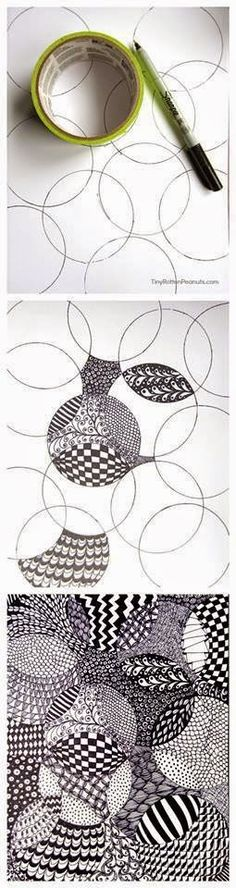 "DIY: super-easy zentangle drawing project--lol--I taught elements of design in art class, and doodling has been around since the beginning of man. Yet now, it's called ""zentangle"". 3d Pencil Drawings, Easy Drawings, Easy Sketches, Flower Drawings, Drawing Flowers, Pencil Art, Drawing Projects, Drawing Ideas, Drawing Art"