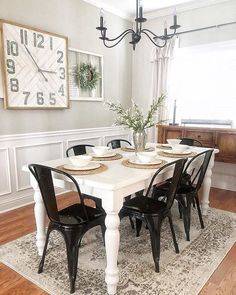 A timeless farmhouse favorite that works in every home… tap to shop the Farell Chandelier! White Farmhouse Table, Farmhouse Dining Room Table, Farmhouse Decor, Country Farmhouse, Dining Rooms, Dining Room Inspiration, Home Decor Inspiration, Black Metal Dining Chairs, Dining Room Design