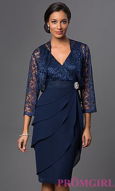 Sleeveless V-Neck Sally Fashion Dress with Matching Lace Bolero at PromGirl.com