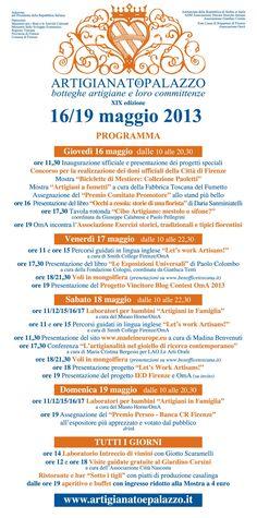 Ci siamo quasi! -3 giorni all'inaugurazione! Ecco il ricco #programma per le quattro giornate... #ArtigianatoePalazzo #eventi #Firenze #Toscana #artigianato