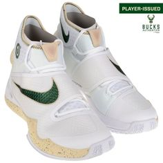 O.J. Mayo Milwaukee Bucks Fanatics Authentic Player-Issued #3 White and Green Nike Shoes from the 2015-2016 Season - Size 14 - 1