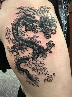 Start of a Oriental Asian dragon leg tattoo