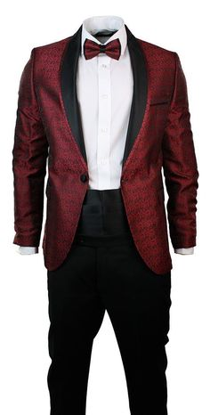 Mens Slim Fit Wine Maroon Black Paisley Suit Tuxedo Shawl Collar Wedding Party
