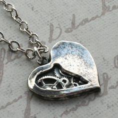 Tick Tock Clockwork Heart Necklace - Steampunk Necklace Watch Gears  - Sterling Silver Pendant Handmade Jewelry .925 Silver. $220.00, via Etsy.