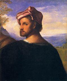 TIZIANO Vecellio Head of a Man c. 1509 Oil on canvas, 47 x 41 cm Kelvingrove Art Gallery and Museum, Glasgow