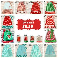 """$6.99 Dress when you """"SHARE""""!! 16 styles to choose from! Sizes baby to 12 years old! Our adorable dresses are perfect for photos, holiday parties, school, the b"""