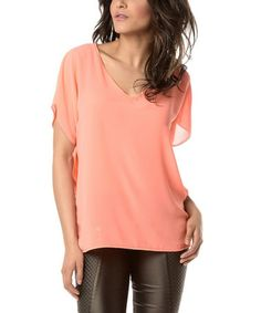 Look what I found on #zulily! Coral Sheer V-Neck Top #zulilyfinds