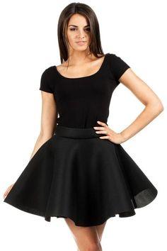 Black Mini Flare Skater Skirt