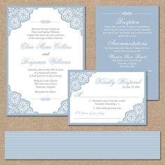 Elegant Lace Wedding Invitation Suite, Square Invitation // Dusty Blue Wedding Invitation // DIY Printable Wedding Invite