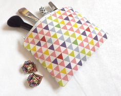 Geometric Print Zipper Pouch  Multicolored by LittleSewingStudio