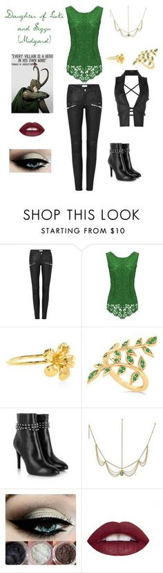 """""""Daughter of Loki and Sigyn Midgardian version"""" by shanksaubrie ❤ liked on Polyvore featuring Alex Monroe, Allurez, Yves Saint Laurent, Villain and Ann Demeulemeester"""