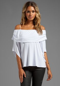 JAMES & JOY Julie Open Shoulder Top in White - Tops