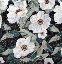floral mosaic tiles - white flowers