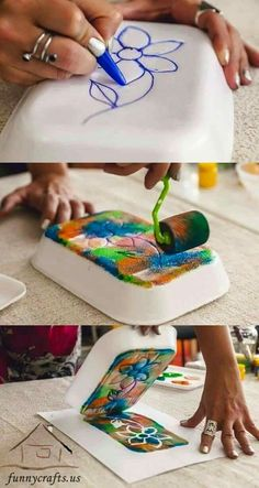 I like the idea of making home-made stamps. This teaches kids that something you can easily buy in a store, you can also make!