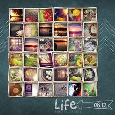 Life Captured via Instagram - Mosaic Chalkboard digital layout - Project Life