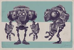 A robot design I did last year, and I thought it would be fun to bring it into 3D, so here it is.