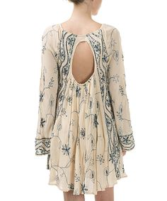 Look at this #zulilyfind! CQbyCQ Cream & Blue Beaded Open-Back Peasant Dress by CQbyCQ #zulilyfinds