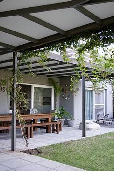 Pergola Ideas For Patio Patio Roof, Pergola Patio, Pergola Plans, Pergola Kits, Pergola Ideas, Ponds Backyard, Backyard Patio, Backyard Landscaping, Pergola Designs