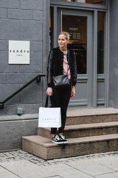 tifmys – Sandro, Oslo Norway. Mango leather jacket, Envii sweater, H&M pants, Vans Oldskool sneakers & Céline trio bag.