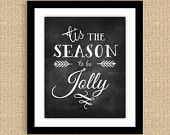 Chalkboard Christmas Typography Print 8 x 10 - Most Wonderful Time of the Year. $15.00, via Etsy.