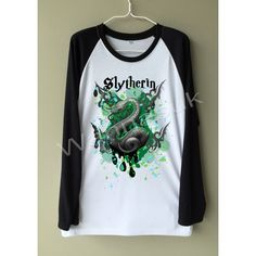 Harry Potter Shirts, Slytherin T shirt, Slytherin tee, Cool Unisex t... ($22) ❤ liked on Polyvore featuring tops, t-shirts, shirt tops, tee-shirt, round t shirt, white top and round top Harry Potter Sweatshirt, Harry Potter Shirts, Nerd Outfits, Screen Printing Shirts, Graphic Tee Shirts, Mens Sweatshirts, White Tops, Custom Shirts, Long Sleeve Shirts