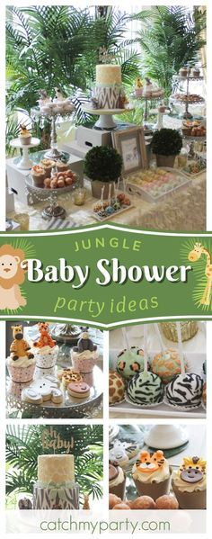 Don't miss this stunning Jungle Inspired Baby Shower! The animal cupcakes are so cute! See more party ideas and share yours at CatchMyParty #partyideas #catchmyparty #jungle #babyshower #animals