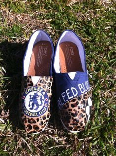 I want Chelsea toms but not with cheetah print on them.  Chelsea Football Club TOMS. $110.00, via Etsy.