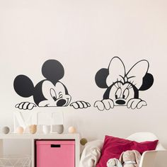 Cartoon Mickey Minnie Mouse Cute Animal Vinyl Wall stickers Mural Wallpaper Baby Room Decor Nursery Wall Decal Home Decor ~ Cute Home Decor ~ Olivia Decor - decor for your home and office. Baby Nursery Art, Nursery Wall Stickers, Wall Stickers Murals, Vinyl Wall Decals, Window Stickers, Sticker Mural, Sticker Vinyl, Nursery Room, Car Decals