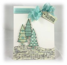 Holiday card by Teresa Kline using Verve Stamps.  LOVE the music ground
