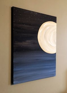 easy paintings This original acrylic painting on canvas is a calming and relaxing painting of a new moon in the night sky, surrounded by stars. This painting would make a great ad Small Canvas Paintings, Easy Canvas Art, Small Canvas Art, Easy Canvas Painting, Cute Paintings, Simple Acrylic Paintings, Acrylic Canvas, Landscape Paintings Simple, Drawing On Canvas