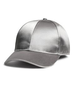 Silver-colored. Satin cap with concealed elastication at back.