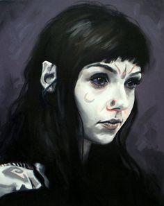 Grace Neutral Fine Art Print (Tattooist - Body Mods - I-D Magazine - Vice - Alien - Space - Goth - Alt Girl - Ink - Tattoos - Painting)