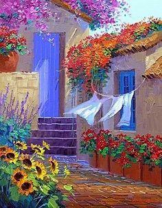 (usa) by Mikki Senkarik ). Cool Paintings, Landscape Paintings, Building Painting, Caribbean Art, Cottage Art, Summer Painting, Greek Art, Lovers Art, Watercolor Flowers