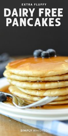 This extra fluffy, dairy free pancakes recipe is so easy to make with egg and almond milk. Can easily be made gluten free and vegan with a few simple swaps. and Drink breakfast almond milk Extra Fluffy Dairy Free Pancakes Dairy Free Bread, Dairy Free Pancakes, Dairy Free Snacks, Lactose Free Recipes, Dairy Free Breakfasts, Dairy Free Diet, Keto Pancakes, Fluffy Pancakes, Pancakes With No Milk