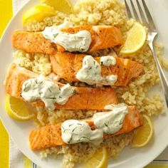 Salmon with Dill Sauce & Lemon Risotto - Dill sauce was a great addition (added a few capers as well), baked the salmon instead of pan frying.