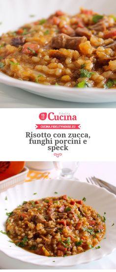 Risotto con zucca, funghi porcini e speck della nostra utente Giovanna. Unisciti alla nostra Community ed invia le tue ricette!