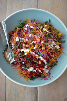 shredded rainbow salad with greek yogurt caesar dressing.