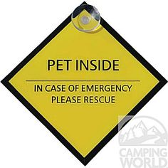 """A Camping World Exclusive! Extra safety for your pet while you are away from your RV or home. Brightly colored sign alerts emergency personnel to rescue your pet in case of fire or other emergency."""